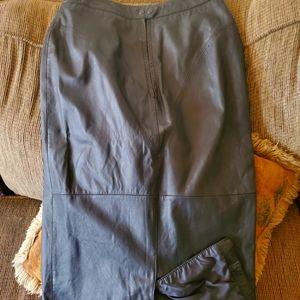 Vintage Black Leather long skirt with back slit